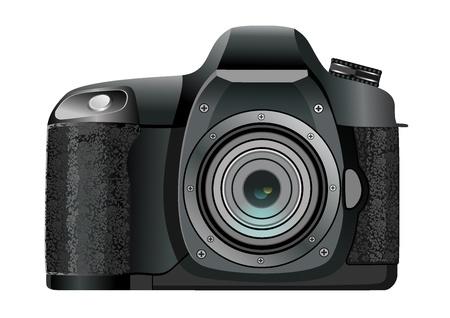 Elegant digital photo camera white background Vector