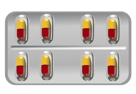 a tablet blister: Capsules packed in blister, isolated on white Illustration