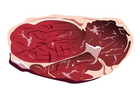 beef steak: carne de vacuno de carne en blanco aislado Vectores