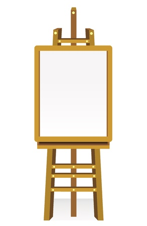 artboard: Blank art board, wooden easel, front view, isolated on white