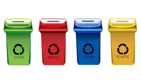 vertedero: Papeleras de reciclaje Aislado Vectores