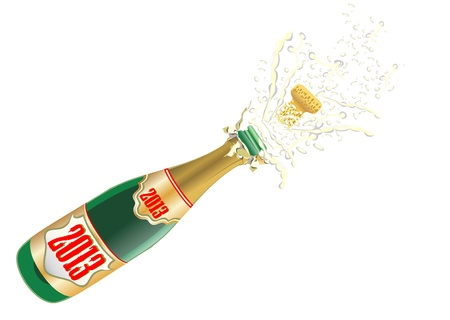 festive occasions: Illustration of explosion of champagne bottle cork