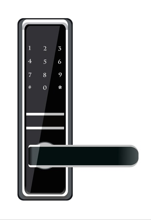 Door handle electronic lock Illustration