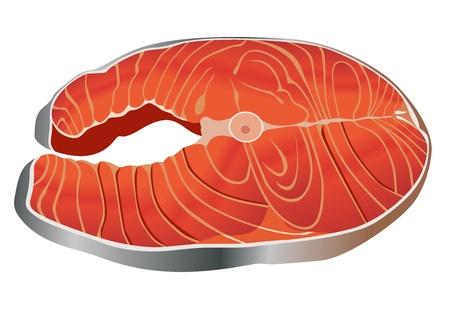 Salmon steak red fish Stock Vector - 18461604