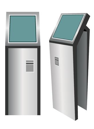 kiosk: Digital touchscreen terminal isolated on white background