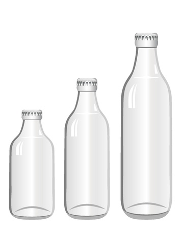 Empty glass bottles collection, isolated Stock Vector - 18461423