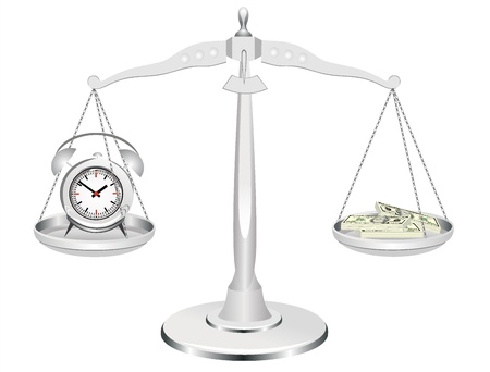 payday: time is money, clock and money on scales Illustration