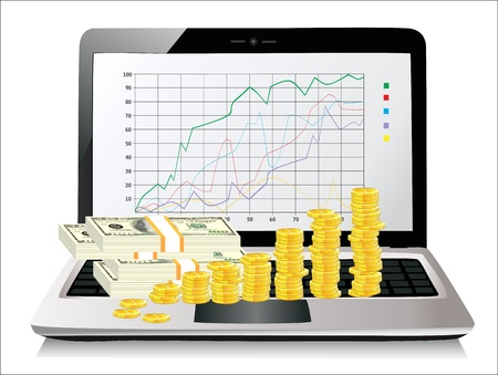 Money on laptop isolated on white Stock Vector - 19393833