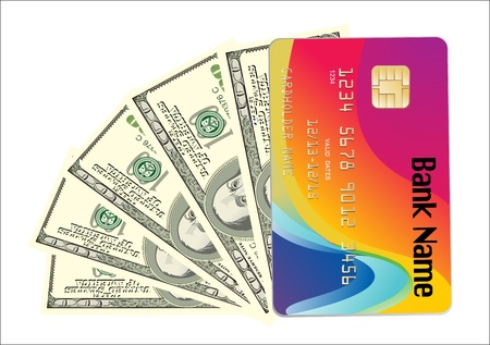 banknotes and credit card isolated on white Stock Vector - 19393751