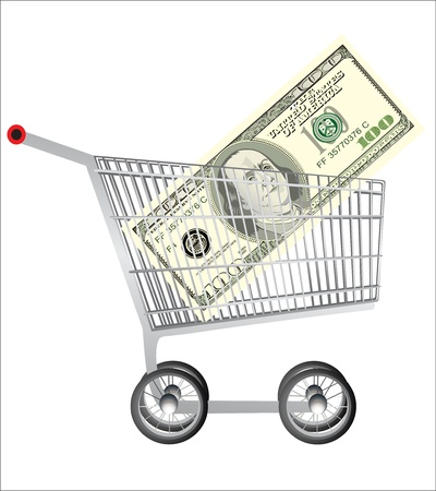 Shopping cart and dollar Stock Vector - 19393715