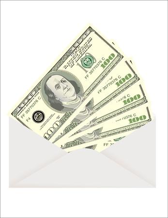 bestechung: Geld im Umschlag auf wei�em Hintergrund Illustration