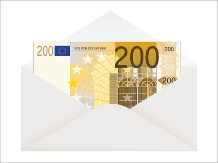 venality: Open envelope with 200 euro on a white background