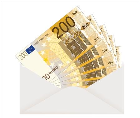 bestechung: �ffnen Sie Umschlag mit Euro-Banknoten auf einem wei�en Hintergrund
