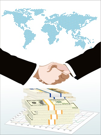 end of the world: World map, money end graph over it handshake