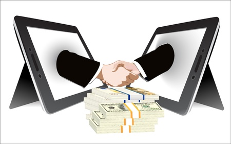 money and Two computer tablet and Hands in handshaking, Internetworking Concept, Wireless Communication Stock Vector - 19393837