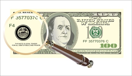 A dollar magnified to find a 100 dollar bill Stock Vector - 19393725