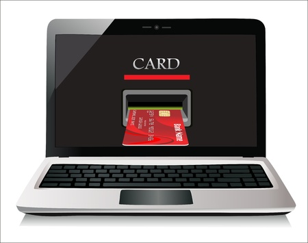 E-commerce  Laptop and credit card on white isolated background  Stock Vector - 19393675