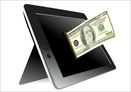 Black tablet pc with dollar on white background Stock Vector - 19393735