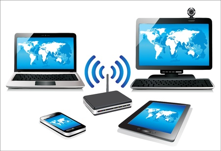 wireless communication: Home wifi network  Internet via router on pc, phone, laptop and tablet pc