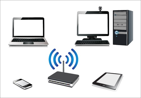 Home wifi network  Internet via router on pc, phone, laptop and tablet pc  Vector