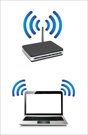 dsl: computer portatile collegato a un router wireless