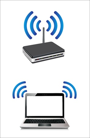 laptop connected to a wireless router Vector