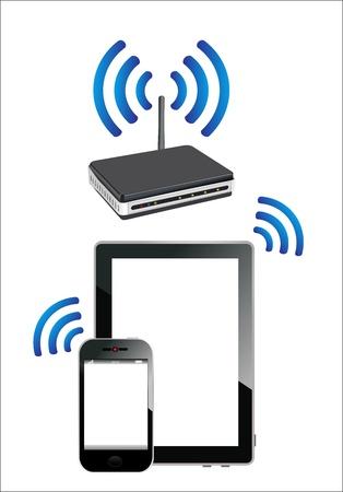 dsl: Casa wifi rete Internet tramite router su telefono e tablet pc