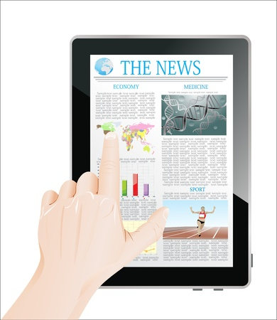 Men Hand touch screen on tablet pc with business news  Isolated on white  Stock Vector - 19393749