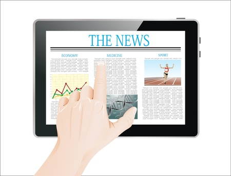 business news: Men Hand touch screen on tablet pc with business news  Isolated on white