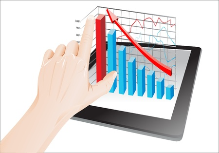 Tablet screen with 3D graph and a hands  Stock Vector - 19393651