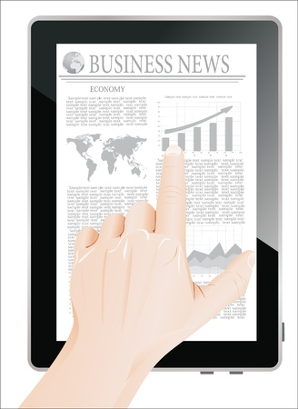 Men Hand touch screen on tablet pc with business news  Isolated on white Stock Vector - 19393829