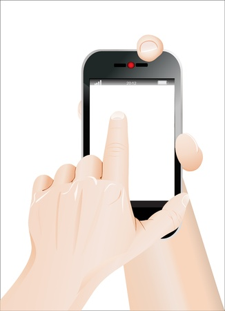 Men hand point on blank smartphone  Isolated on white Stock Vector - 19393647