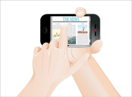 Men Hand touch screen on smartphone with business news  Isolated on white Stock Vector - 19393828