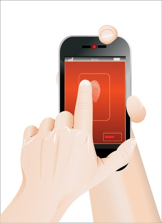 Mobile phone scanning a fingerprint in hand Vector
