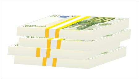 Stack of 100 euro bills isolated on white background  Vector