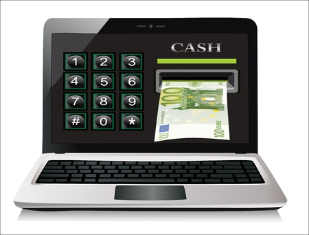 Online payments in laptop concept Isolated on white background Stock Vector - 19394570