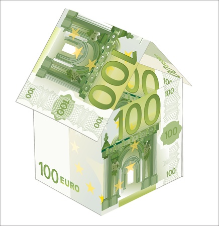 The house made of 100 Euro banknotes, isolated on white