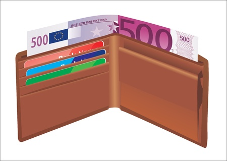 Leather wallet,inside, with bank cards and money Stock Vector - 19394571