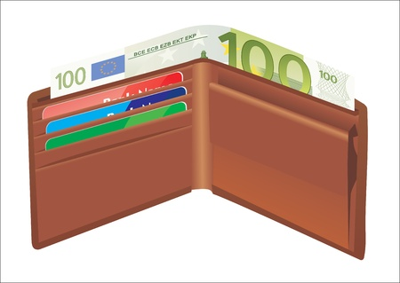 Leather wallet,inside, with bank cards and money Stock Vector - 19394574