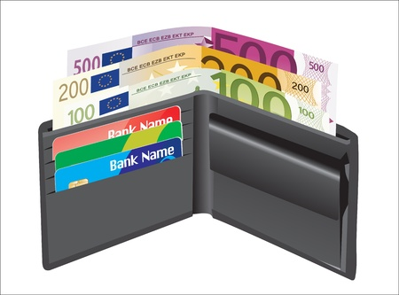 Leather wallet,inside, with bank cards and money Stock Vector - 19394615