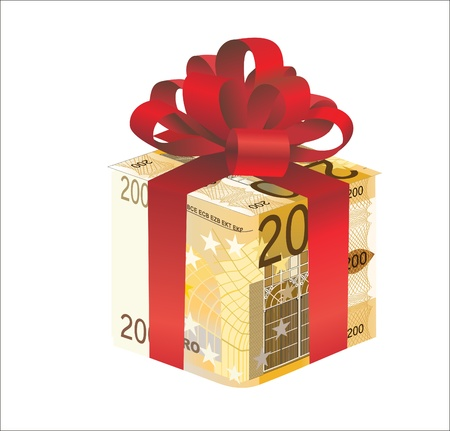 money gift box of 200 euro isolated on a white background Illustration
