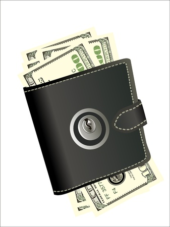 pickpocket: A wallet with padlock - symbolic for safety precautions on either spending money or pick-pocketing