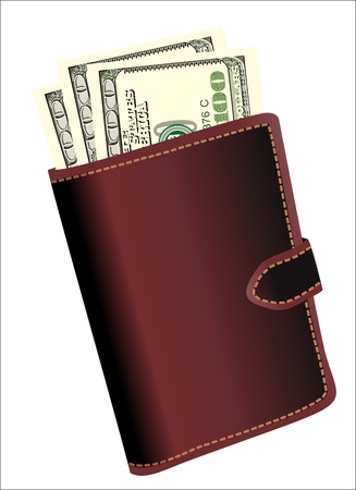 leather wallet with money isolated on white background Stock Vector - 19394582
