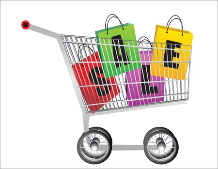Sale in a shopping cart   Concept of discount Stock Vector - 19394442