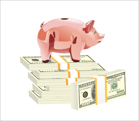 Money and piggy bank isolated on white background Stock Vector - 19394643