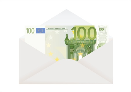 venality: Open envelope with 100 euro on a white background