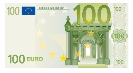 factura: Cien euros de ley aislados en blanco Vectores