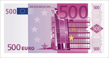 billets euros: Isol� 500 euro banknote Illustration