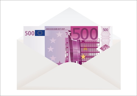 Open envelope with 500 euro on a white background