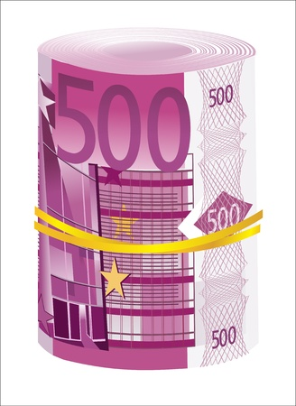 euromoney: 5 thousand Euro rolled up on white background